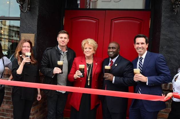 Kenna Warner, Ryan Doherty, Mayor Carolyn Goodman, Councilman Ricki Barlow and Mike Parks with beer moustaches