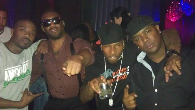 (L to R) Ray J, Austin Trout AP9 and DJ J Nice party at Chateau Nightclub