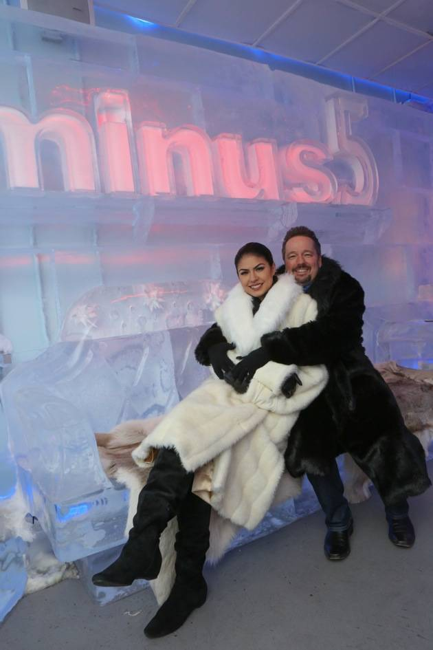 Minus5 Ice Bar celebrity cocktail with Terry Fator with Taylor Makakoa 4
