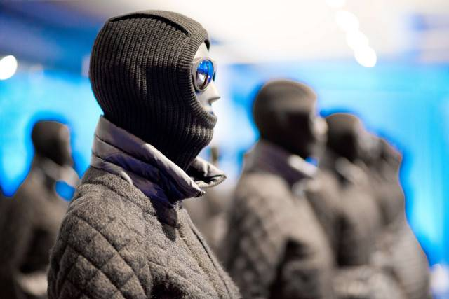 Moncler fashion on display.