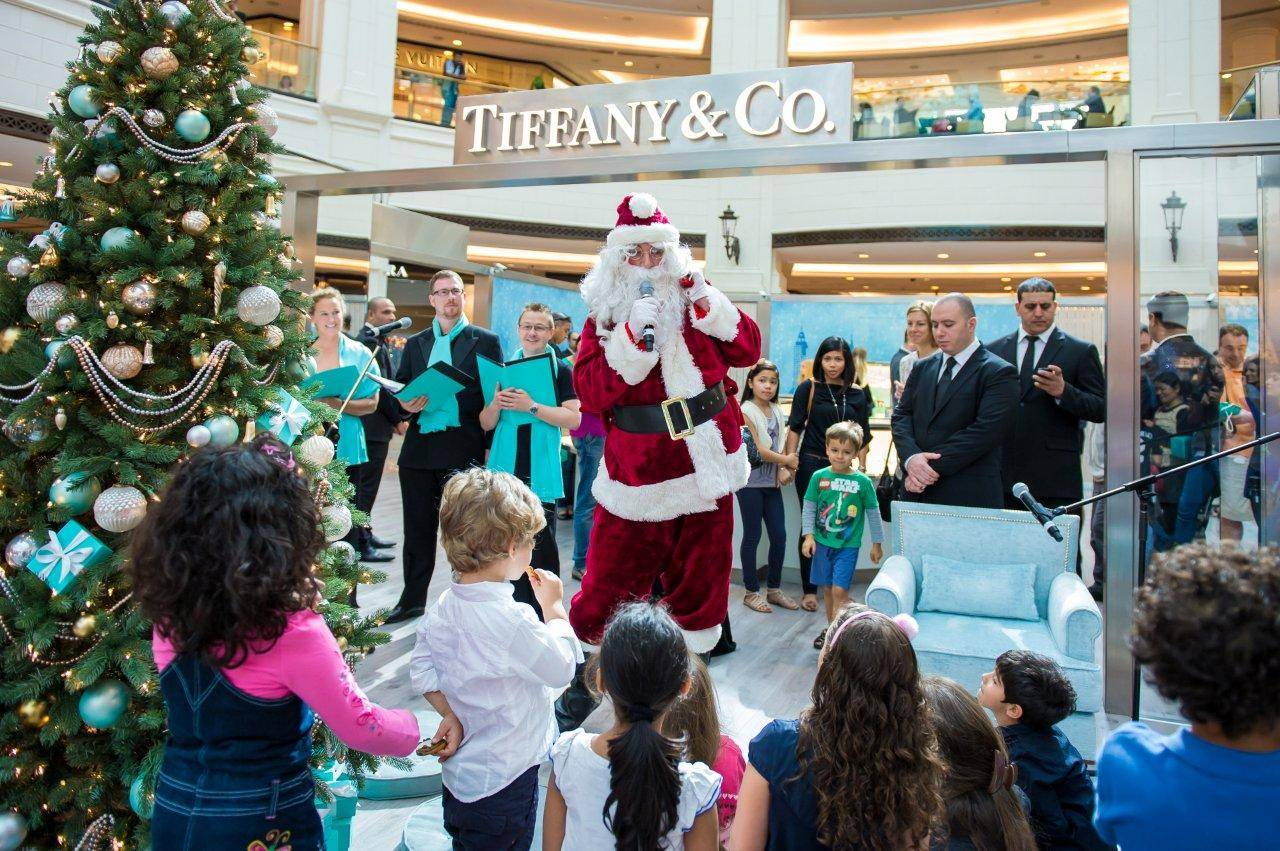 Santa Claus visits the Tiffany Holiday Boutique at Mall of the Emirates