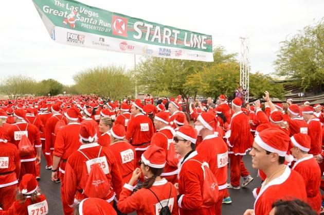 Santas starting the race, Las Vegas Great Santa Run, Dec. 1, 2012, Town Square