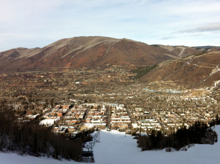 The town of Aspen and Red Mountain from Ajax.