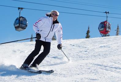 Klaus Obermeyer on skis in Aspen/Snowmass.