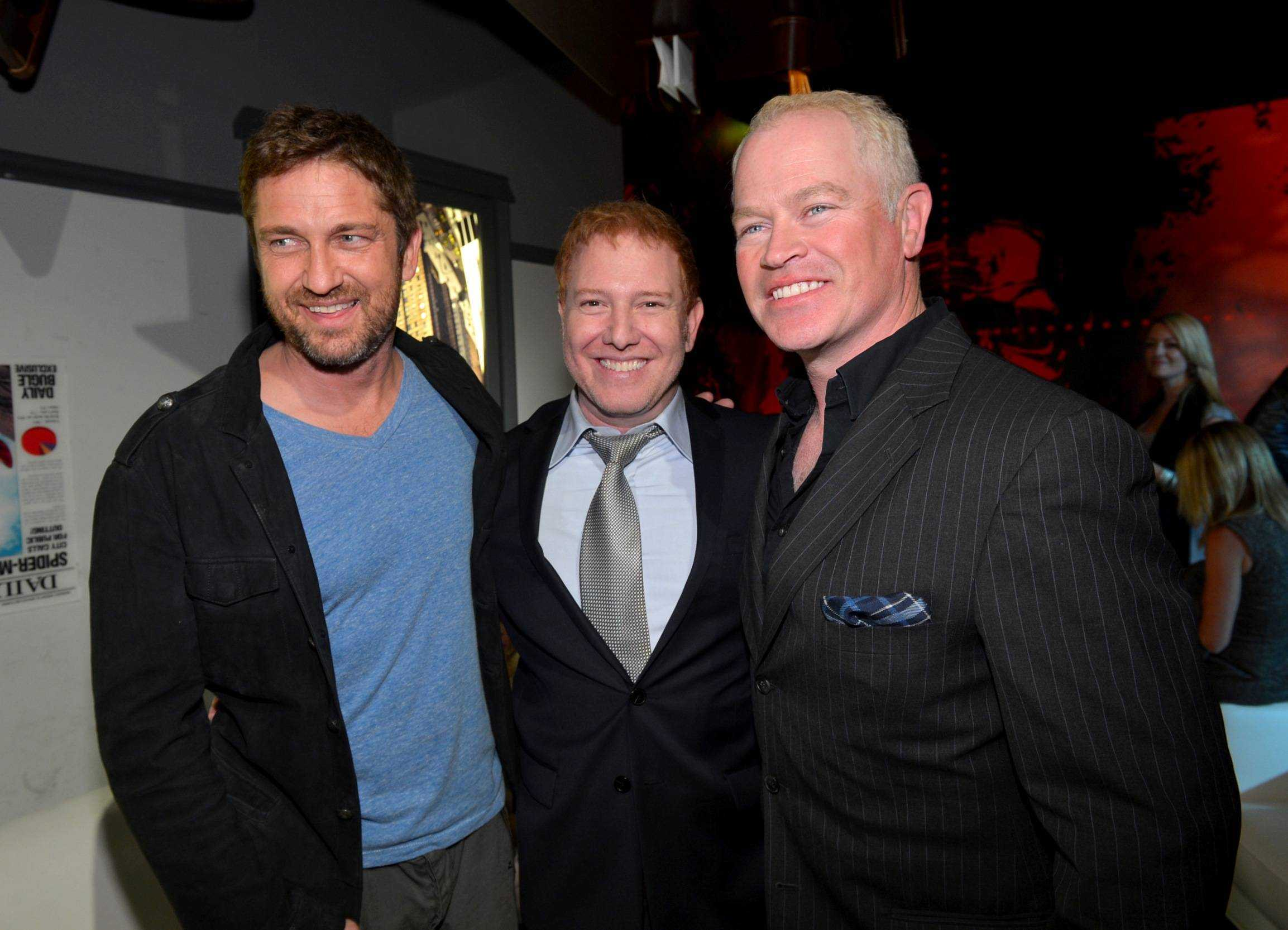 Actor Gerard, Relativity Media CEO Ryan Kavanaugh and actor Neal McDonough attend Relativity Media's Movie 43 Los Angeles Premiere After Party on January 23, 2013 in Hollywood, California.