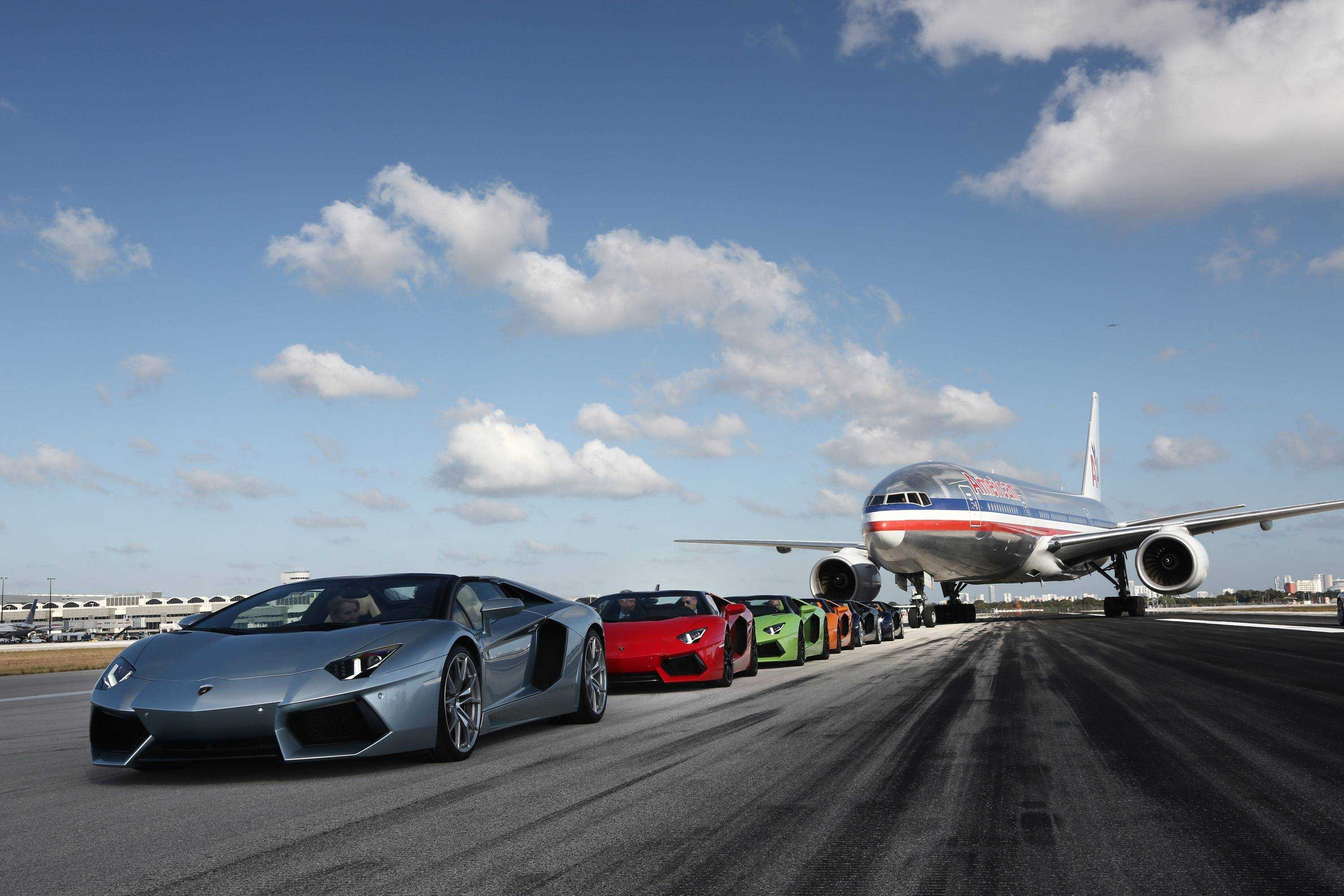 Aventador Roadsters on MIA's runway