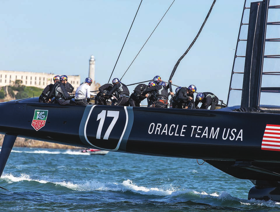 Oracle Team USA practicing AC-72 on San Francisco Bay.