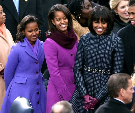 Michelle Obama and her daughters during the 2013 inauguration.