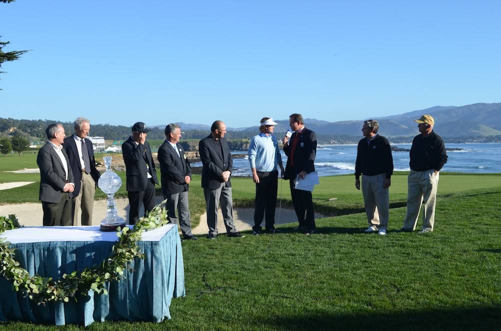Award ceremony on the 18th green