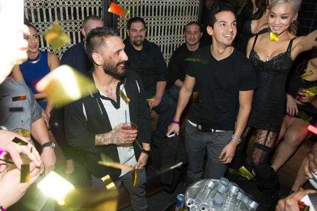 UFC Fighter, Francisco Rivera, celebrates his UFC 156 victory at
