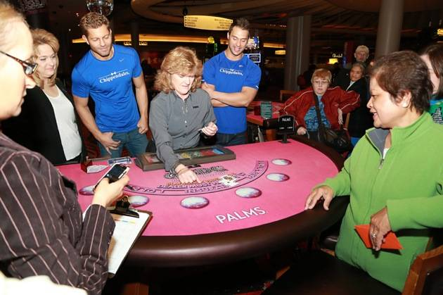 Jaymes and James Oversee the Blackjack Hand
