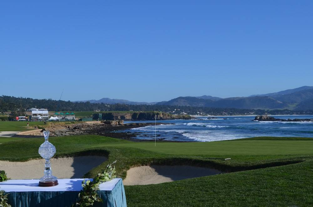 The magnificent view and the AT & T Pro-Am trophy at 18th hole