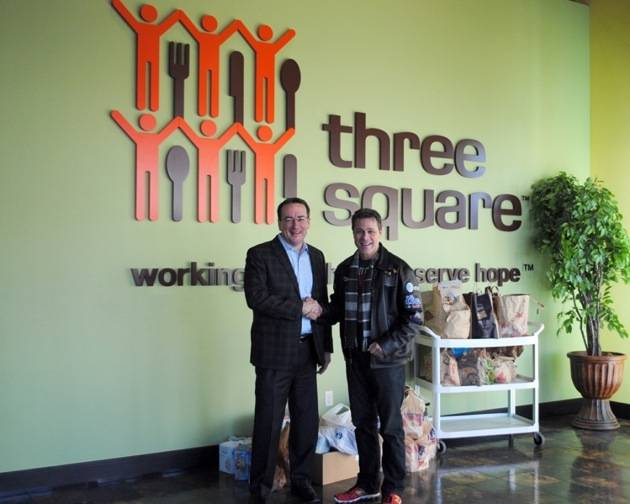 Vinyl headliner Mark OToole and Three Square Food Bank CEO and President Brian Burton