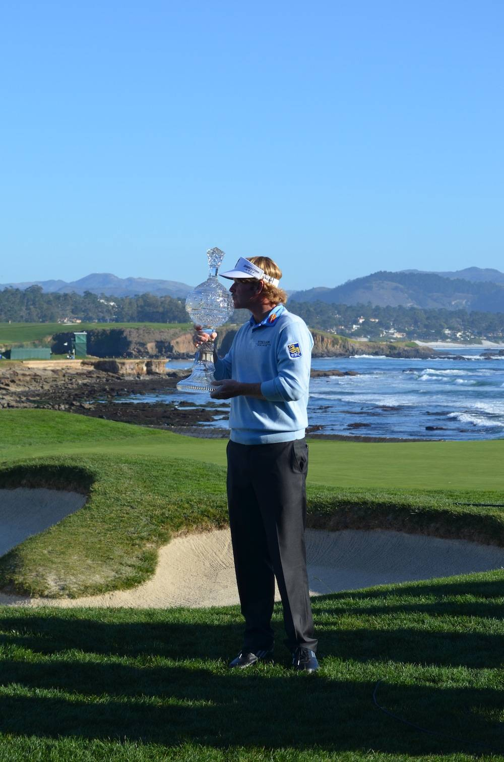 the at t pebble beach pro am championship haute living winner brandt snedeker and trophy