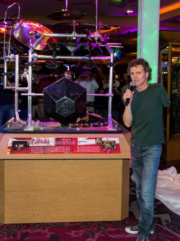 3.21.13 Rick Allen of Def Leppard Explains His Drum Kit's Significance to Fans at Hard Rock Hotel & Casino, credit Erik Kabik
