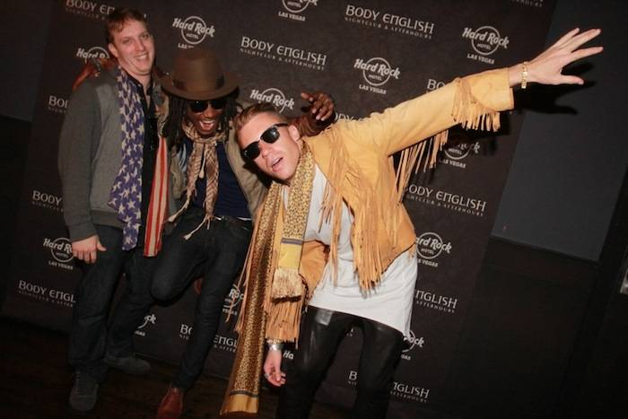 3.9.13 Macklemore poses with friends at Body English Nightclub & Afterhours, credit Hew Burney