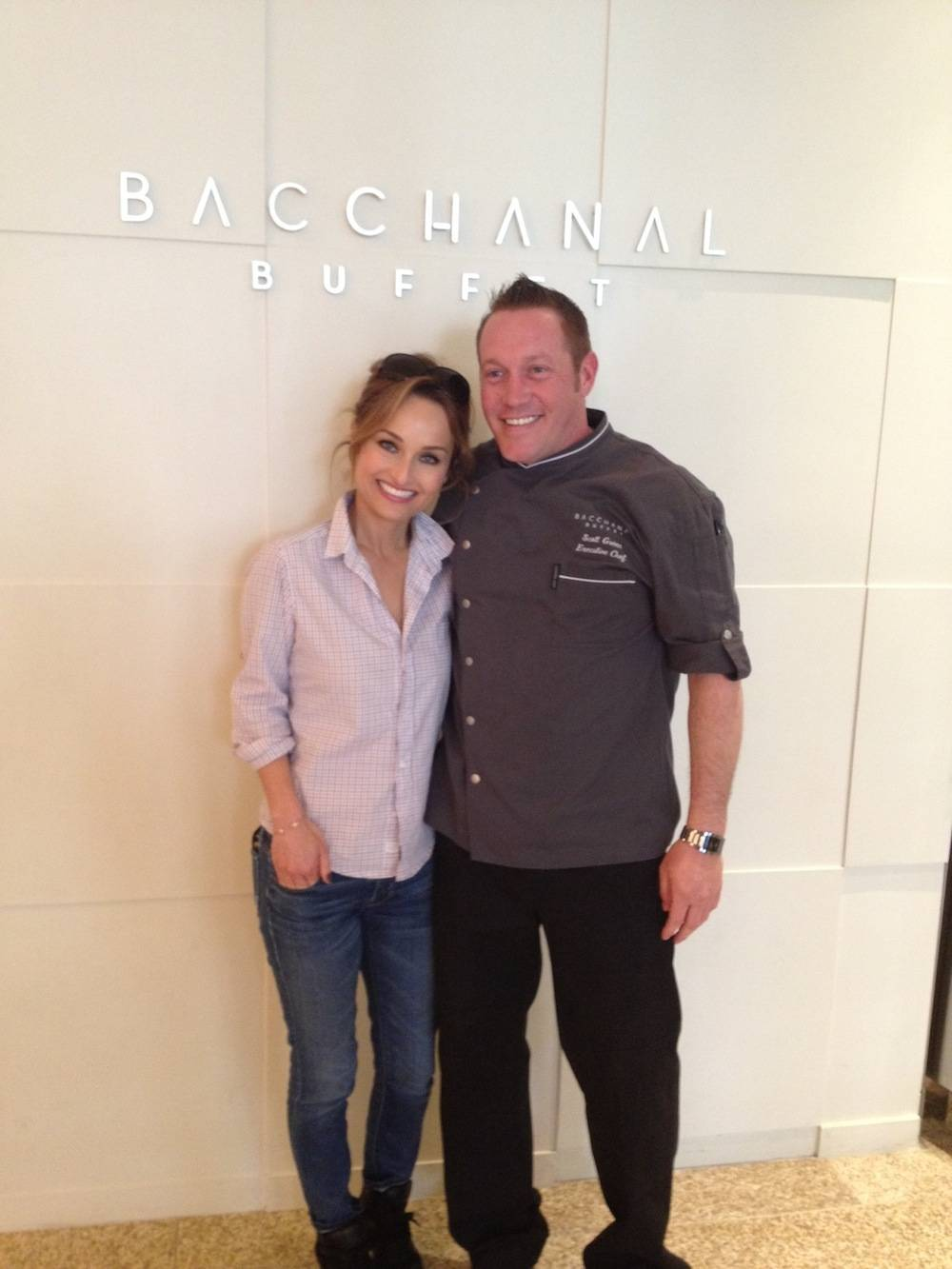 Celebrity Chef Giada De Laurentiis and Bacchanal Buffet's Executive Chef Scott Green at the Bacchanal Buffet at Caesars Palace