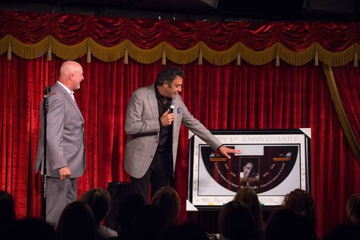 Mark Prows and Brad Garrett at One Year Anniversary Presentation with Table Felt 3.27.13
