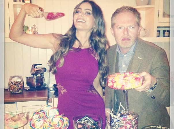 Sofia Vergara posed with Modern Family costar Jesse Tyler Ferguson, captioning this picture: Candy heaven!