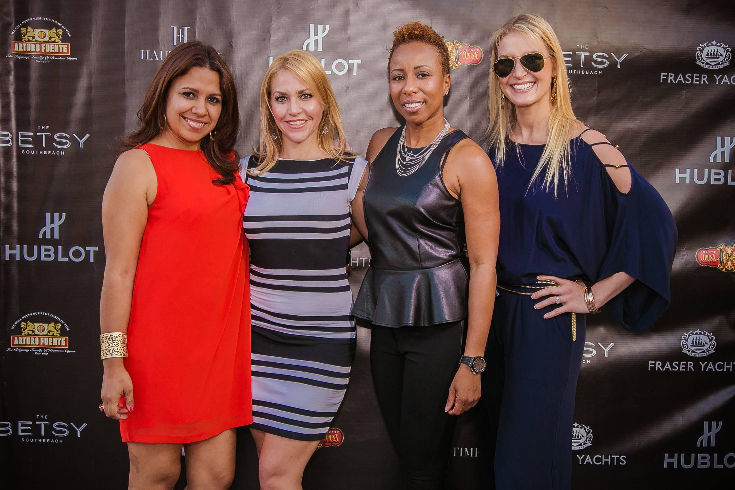 Soraya Ramirez, w Hublot, Nicole Kasak, w Mogul PR, Marva Bradshaw, w Hublot, and Kari Webber w Fraser Yachts
