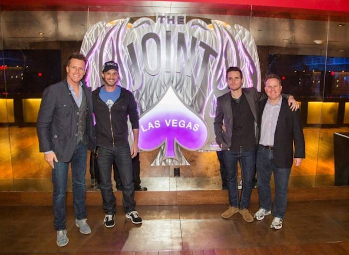 04.26.13 (L to R) Chris Franjola, Josh Wolf, Jeff Wild, Steve Marmalstein at Prince inside The Joint at Hard Rock Hotel & Casino