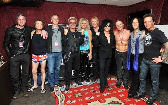 4.3.13 Eric Dane, Rick Allen, Friend, Billy Idol, Rick Savage, Joe Elliott, Steve Stevens, Phil Collen, Vivian Campbell and Billy Morrison Hang Out Following Def Leppard's Resident Show at The Joint in Hard Rock Hotel &