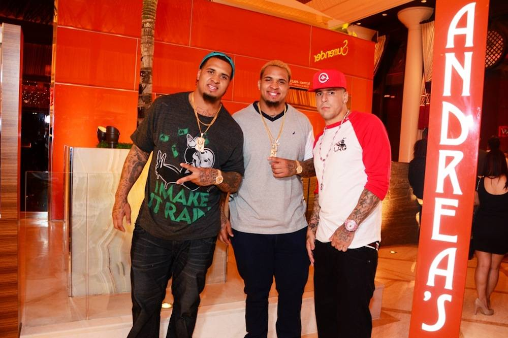Aaron Hernandez and the Pouncey Brothers at Andrea's