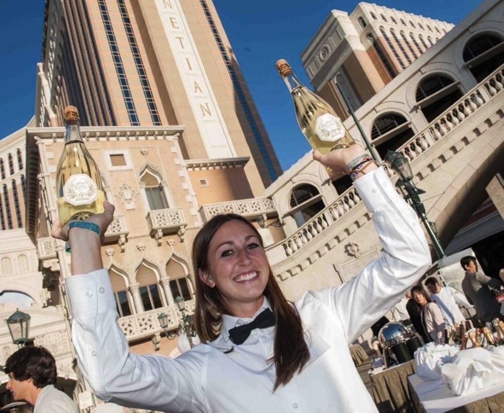 Bubble-Licious Volunteer Serving Francis Ford Coppola's Sofia Blanc de Blanc at UNLVino