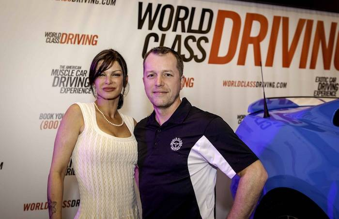 Carla Pellegrino and World Class Driving CEO Aaron Fessler at American Muscle Car Launch Party - Vik Chohan Photography