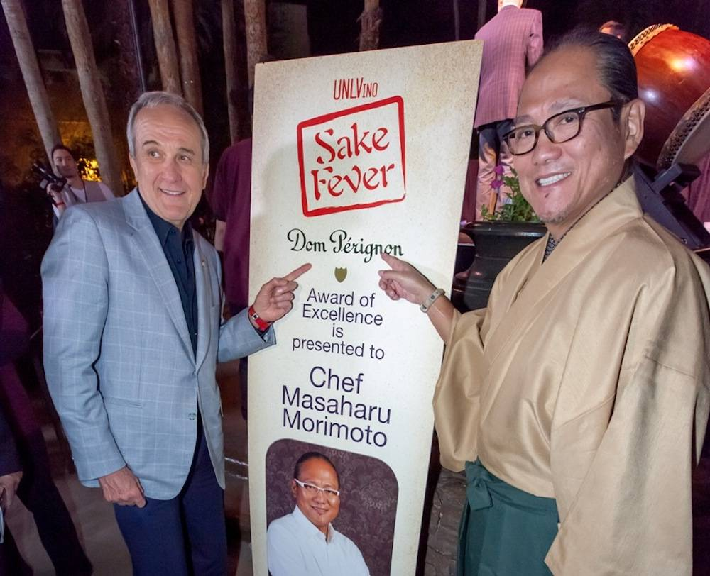 Larry Ruvo and chef Masaharu Morimoto at UNLVino Sake Fever, 4.19.13, Tom Donoghue Photography 2013