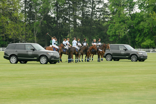 The teams lines up with the new 2013 Range Rovers.