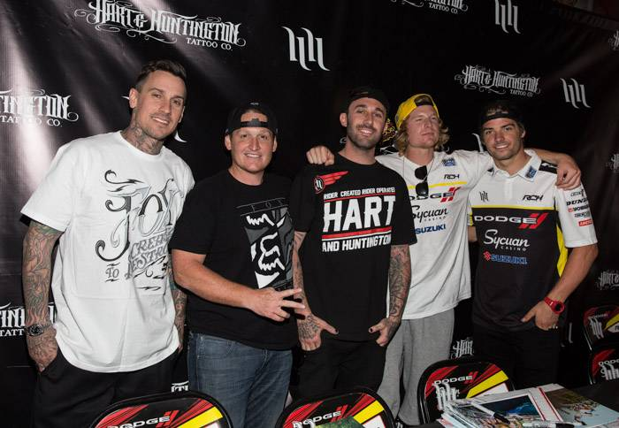 5.3.13 (L to R) Carey Hart, Ricky Carmichael, Mike Mason, Josh Hill, & Broc Tickle at Hart & Huntington Tattoo Co. in Hard Rock Hotel, credit Erik Kabik