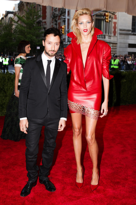 Anthony Vaccarello with Anja Rubik