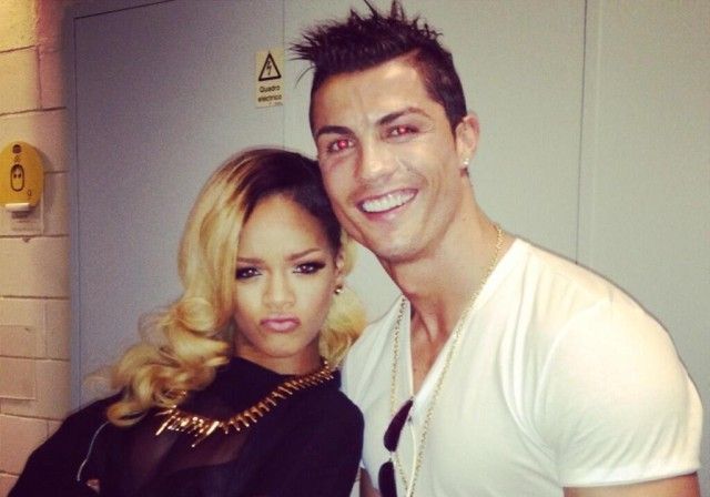 Cristiano Ronaldo posed backstage with Rihanna during a stop on her tour