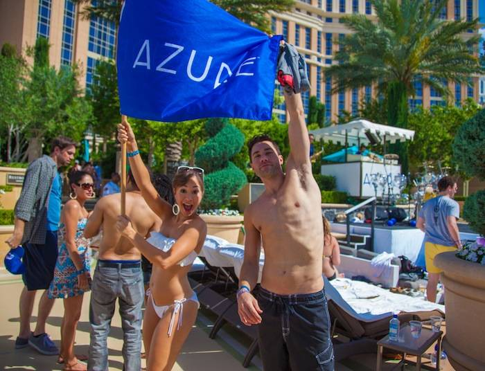 Diana DeGarmo and Ace Young celebrate at Azure Luxury Pool at The Palazzo Las Vegas