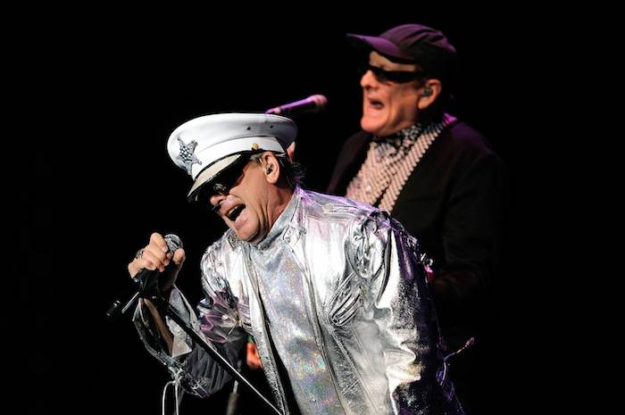 Singer Robin Zander (L) and guitarist Rick Nielsen of Cheap Trick perform at The Pearl concert theater at the Palms Casino Resort on June 15, 2013 in Las Vegas. (photo by David Becker)