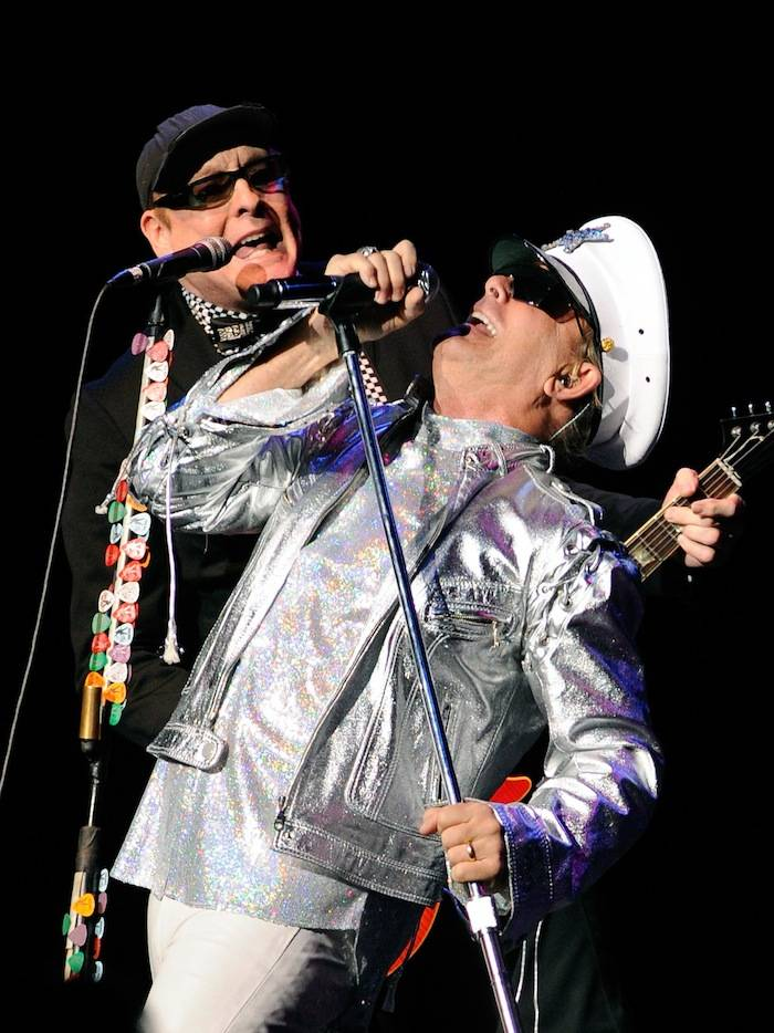 Guitarist Rick Nielsen (L) and singer Robin Zander of Cheap Trick perform at The Pearl concert theater at the Palms Casino Resort on June 15, 2013 in Las Vegas. (photo by David Becker)