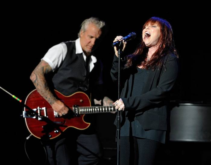 Guitarist Neil Giraldo (L) and singer Pat Benatar perform at The Pearl concert theater at the Palms Casino Resort on June 15, 2013 in Las Vegas. (Photo by David Becker)
