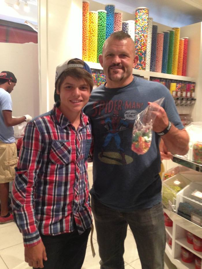 Chuck Liddell and his son with candy