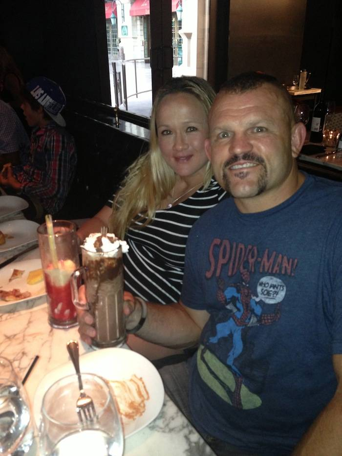 Chuck Liddell and his wife with a milkshake