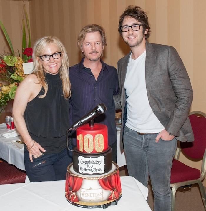 David Spade with Rachael Harris and Josh Groban at David's 100th Show Weekend at The Venetian