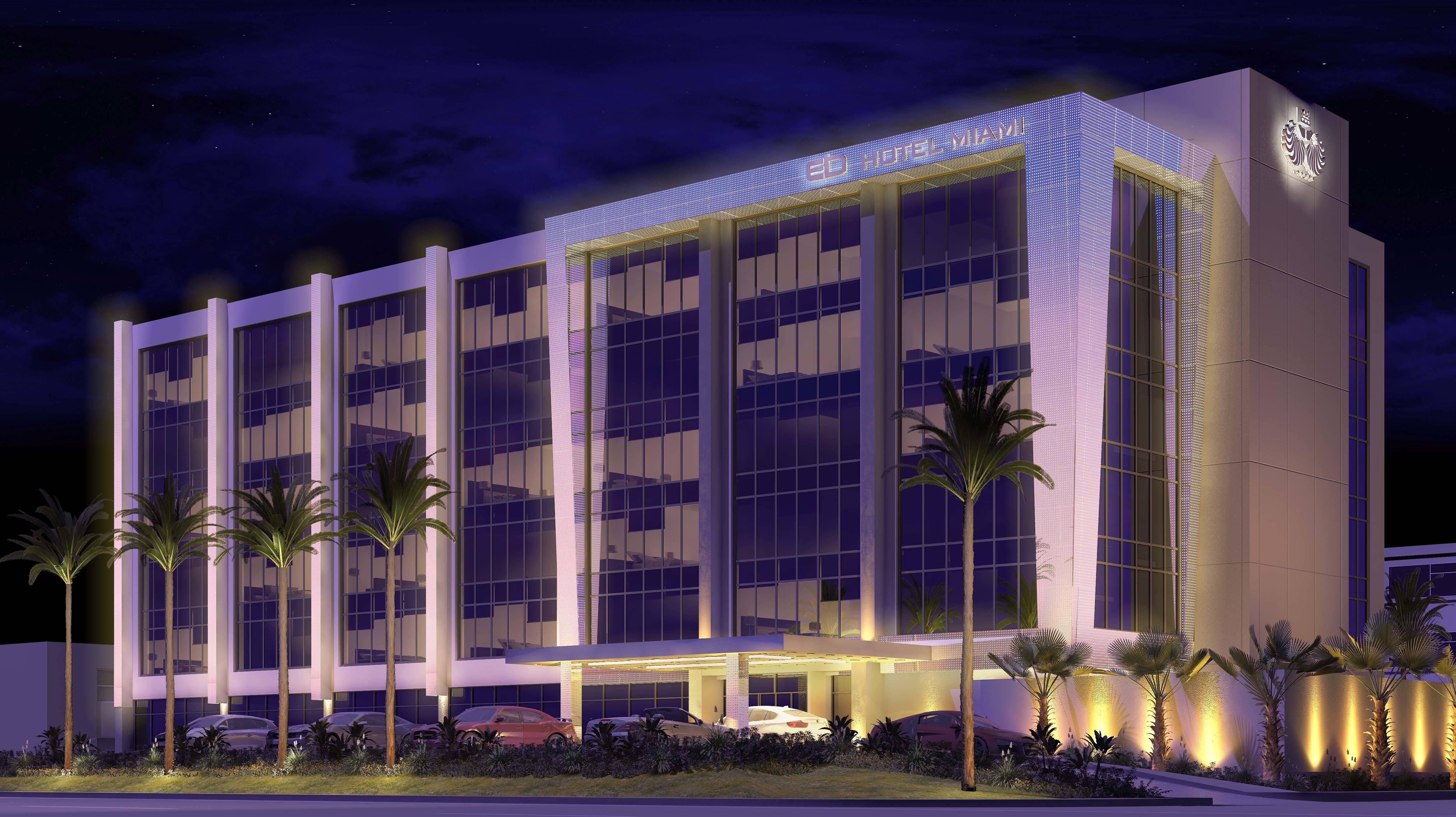 Eb hotel opens miami 39 s premiere luxury stopover hotel for Hotel design facade