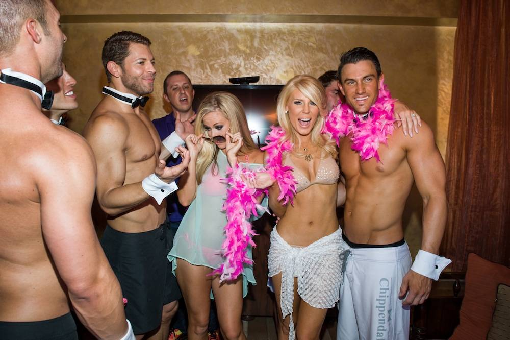 Cast of Chippendales and Kendra Wilkinson-Baskett and Gretchen Rossi