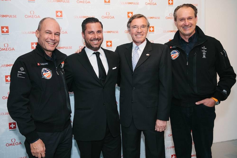 Left-to-Right-Solar-Impulse-pilot-Bertrand-Piccard-Brice-LeTroadec-Head-of-Retail-for-OMEGA-Swiss-Ambassador-François-Barras-and-André-Borschberg-Solar-Impulse-pilot