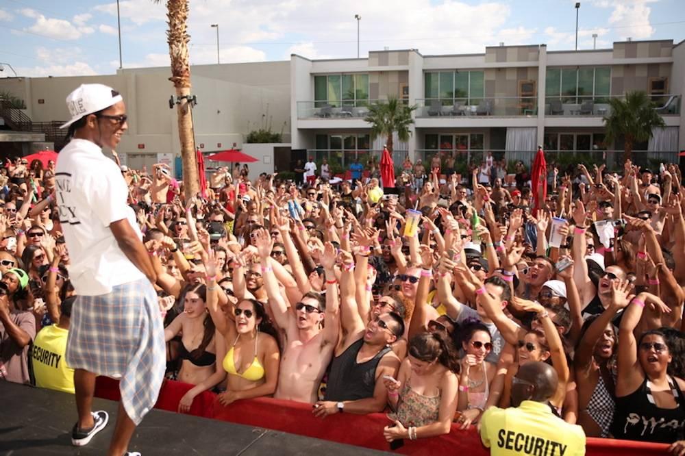 A$AP Rocky smiles at crowd