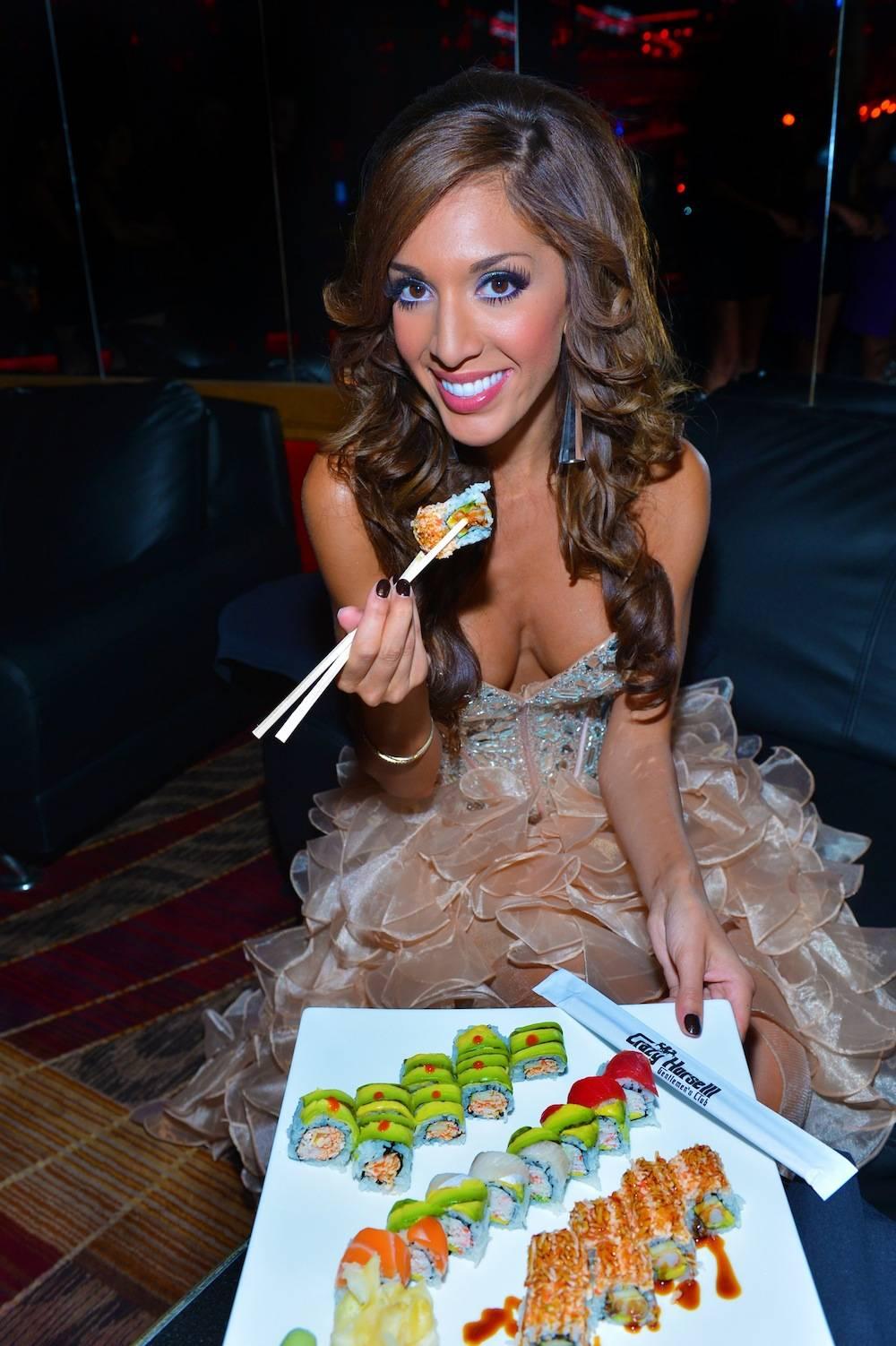 Farrah Abraham enjoying sushi at Crazy Horse III