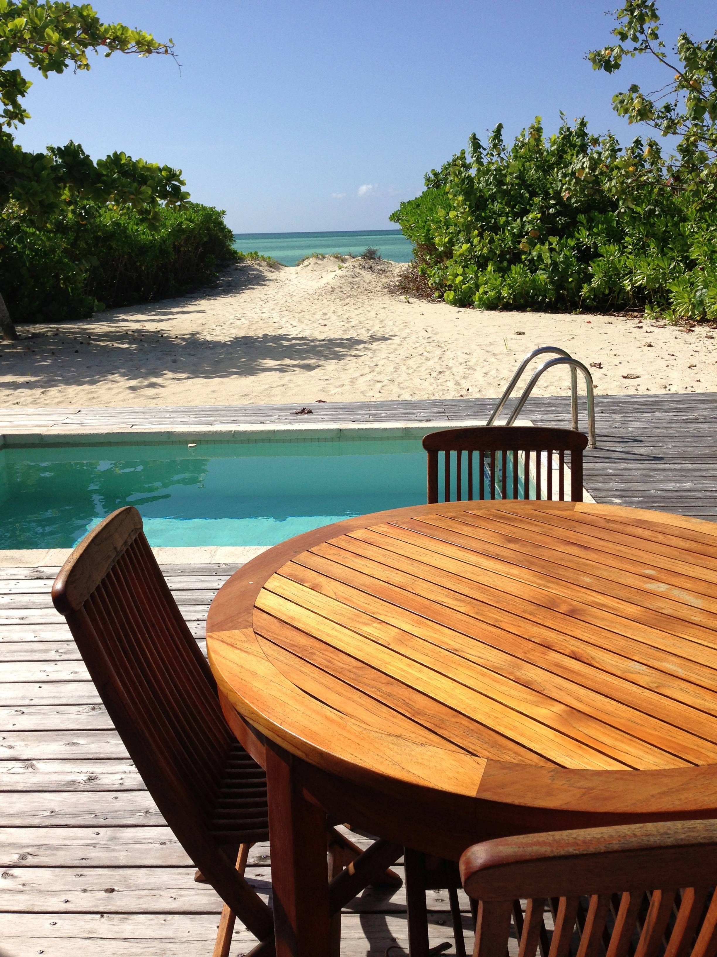 Table for two at the 1 bedroom beach villa