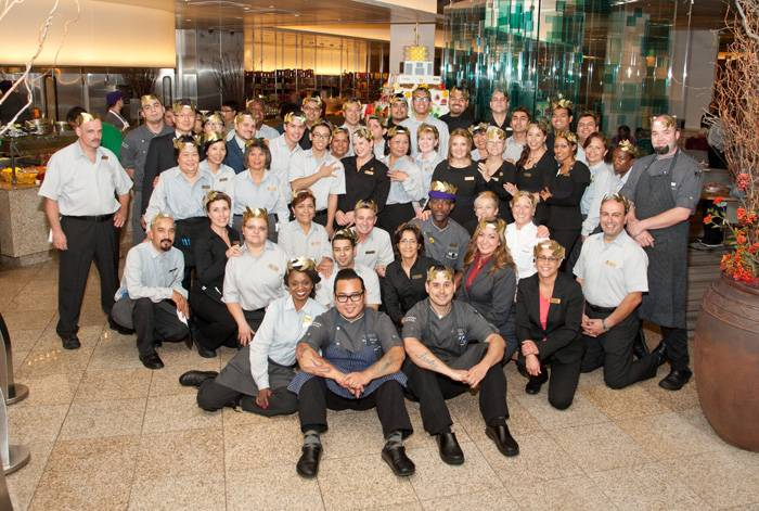 Bacchanal Buffet staff wearing Roman laurel wreaths