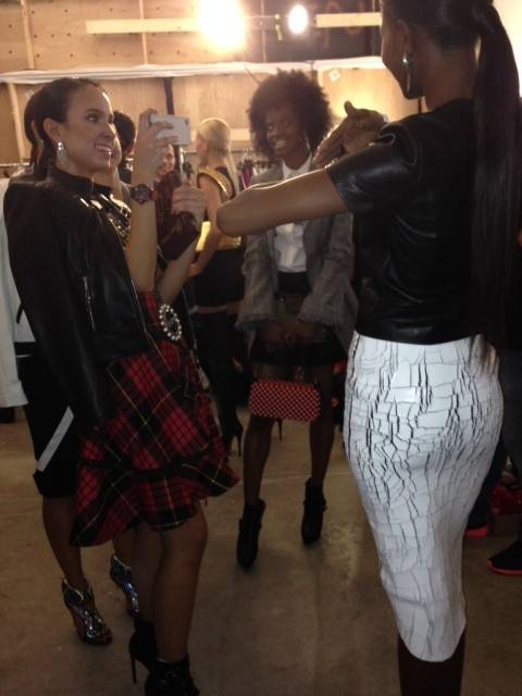 models relaxing backstage