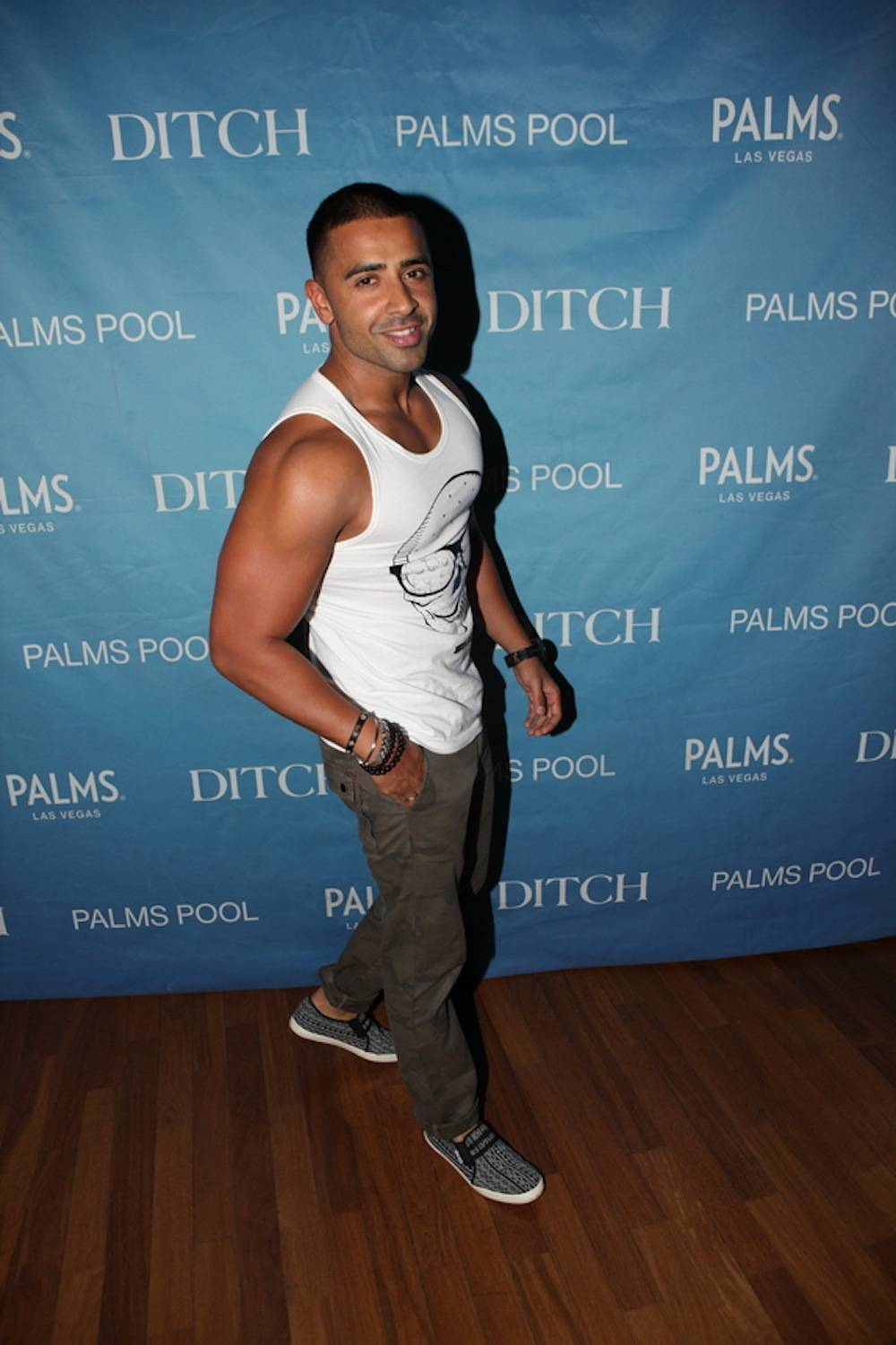 Jay Sean arrives at Ditch Fridays at the Palms Pool. Photos: Joe Fury